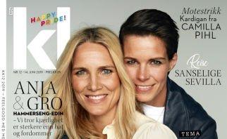 HISTORISK: Gro Hammerseng-Edin fra Gjøvik sammen med sin kone Anja Hammerseng-Edin er det første lesbiske paret til å være på forsiden til KK.  (Skjermdump av KKs forside)