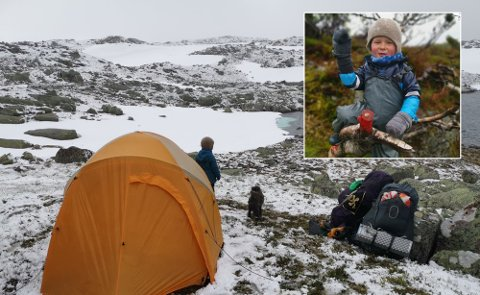 SKAL GÅ 2000 KILOMETER: Mons og familien hans skal gå 2000 kilometer fra Oslo til Nordkapp, delvis på ski og til fots og delvis på sykkel. Disse bildene er fra en tidligere tur.