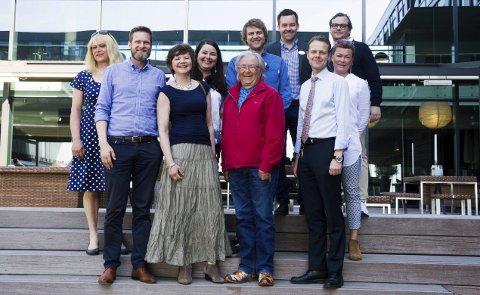 Samarbeid: Fra venstre: Kaja Mostad (Jahren gård og feriested), Magnus Kristiansen (Farris Bad), Wenche Hellum (Kaupangprosjektet), Helene Foldvik (Fodvik Familiepark), Arne Haldor Holhjem (Kaupangprosjektet), Amund Melås (Høyt og Lavt), Anders Nilsson (Farris Bad), Morten Christensen (Wassilioff), Trine Lise Gran (Stavern og Larvik Event) og Jonas Lötman (Larvik Golfbane).foto: roger w. sørdahl