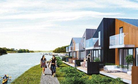 Ved vikerøysundet: Viksfjord Brygge med 26 fritidsboliger kommer til å vokse opp innerst i Viksfjord. Går alt som det skal, planlegges byggestart til høsten.                                    tegning: enerhaugen arkitekter