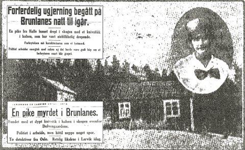 DREPT: 11. april 1928 blir Bertha Marie Henriksen funnet drept. Drapet vies stor oppmerksomhet i Larviks tre aviser.