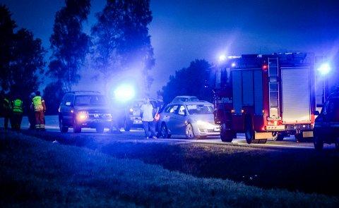 EN SKADET: En MC-fører ble skadet og sendt til sjukehus etter en ulykke i Ottestad mandag kveld.