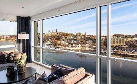 NEST DYRESTE: Denne utsikten fra 11. etasje i Signaturen på Kaldnes, betalte kjøperen 21 millioner for.