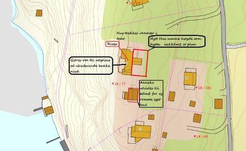 Her vises planene for fritidseiendommen i Fossåsveien på Føynland.