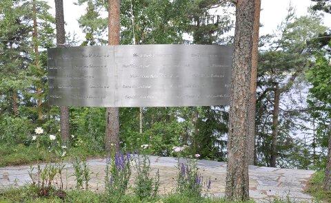 Lysningen: Dette er minnestedet over Utøyaofrene - på Utøya-foto: BEATE KOLD HANSEN