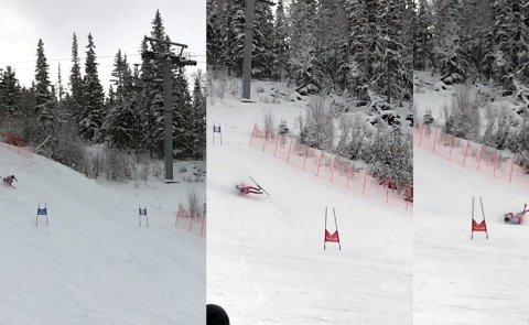 Knall og fall: Her går Amund Møster Haugen på snørra i VM-løypa på Gaustablikk. Før fallet hadde han en medlaje i lomma. Foto: Trym Mogen
