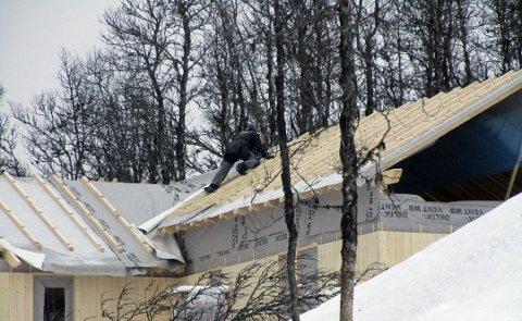 GJENTAR SEG: To arbeidere jobber på taket helt uten sikring. Bildet ble tatt under et tilsyn av arbeidstilsynet i fjor høst. Historiene gjentar seg gang etter gang på de mest attraktive hyttefeltene i fylket. Foto: ARBEIDSTILSYNET