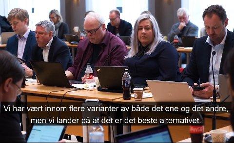 VEDTOK STOKKEBÅTEN: Heidi Westbye Nyhus (Ap) i fellesnemndas møte i april, der det ble vedtatt at stokkebåten bør prege det nye kommunevåpenet.