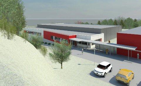 Den nye flerbrukshallen på Tofte som bygges i samarbeid mellom Røyken og Huurm kommuner.
