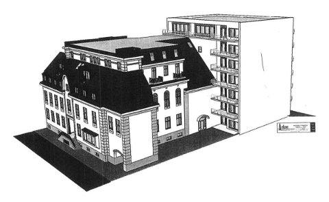 PÅBYGG: Det skisserte påbygg til Hotell Atlantic får en vegg uten vinduer mot den planlagte boligblokka til Hjertnes Eiendom. Vinduene til de 20 hotellrommene vender sørover. Tegning: Arkon Arkitekt og Ingeniørkontor