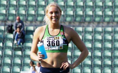 GULLJENTE: Magdeli Støten tok gull på 100 meter hekk i junior-NM.