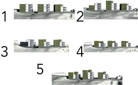 FEM ALTERNATIVER: Dette er de fem utbyggingsalternativene som BAS Arkiekter har presentert for kommunen. Alle har flere etasjer enn det kommunen har gitt signaler om er ønskelig.