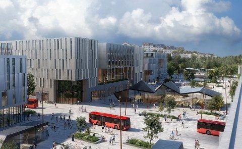 Grønli stasjon skal bli et sentralt knutepunkt i Fredrikstad, dette er ett av tre forslag for den nye stasjonen. Illustrasjon: Dyrvik arkitekter, SLA, Norsam og Sweco,«Grønlikilen»