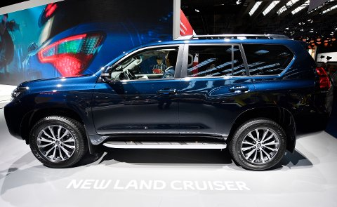 A new Toyota Land Cruiser is on display on the first media day of the International Frankfurt Motor Show IAA in Frankfurt, Germany, Tuesday, Sept. 12, 2017, which runs through Sept. 24, 2017. (AP Photo/Martin Meissner)