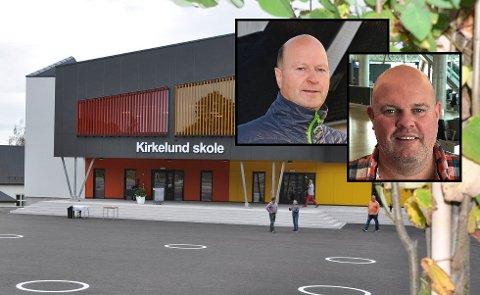 TO AV FEM: Bjørn Brustugun og Christer Høyning (begge innfelt) er to av søkerne til rektorstillingen ved Kirkelund skole i Skiptvet.