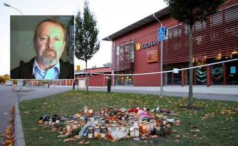 SKOLETRAGEDIE: Lys og blomster minner om den rasistisk motiverte udåden - på skolen Kronan i Trollhättan torsdag. En elev og en lærer ble stukket til døde. Frp-politiker Claus Forberg er innfelt.