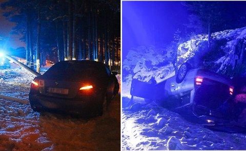 Nødetatene måtte rykke ut på flere ulykker på det glatte føret, mandag ettermiddag og kveld.