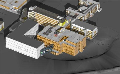 NYTT BYGG: Det hvite bygget til venstre på illustrasjonen blir det nye bygget med akuttfunksjoner og sengeposter.