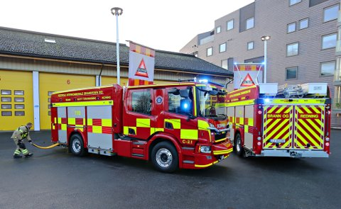 BRANNBILER: To splitter nye brannbiler har ankommet Tønsberg og Nøtterøy brannstasjon.