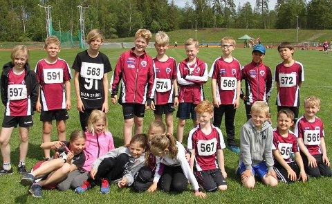 REKRUTTERING: Tønsberg Friidrettsklubb barnegruppe har vokst fra ti til over 60 utøvere i løpet av de siste tre årene. Dette bildet viser noen av fjorårets rekrutter.