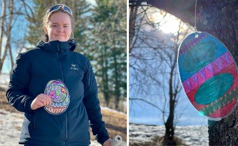PÅSKEREBUS: Mia Engelien Røise, elever og lærere på Toten Montessoriskole varter opp med påskerebus.
