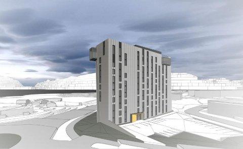 NYTT HOTELL: Slik ser Moxy hotel for seg at Tromsø-hotellet vil se ut ifølge illustrasjonen fra rammesøknaden.