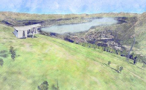 ØVERST: Illustrasjon av startbu og mast oppe på fjellheisplatået.