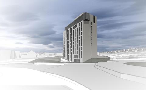 HØYT: Det nye hotellet kan i byggefasen komme i konflikt med flytrafikken på Langnes. Nå varsler Avinor omfattende sikkerhetstiltak før de velsigner byggeplanene.