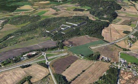 STORE PLANER: Slik ser man for seg at det nye næringsområdet på Ødegården kan bli. Nedenfor sees rundkjøringen med avkjøring til Tønsberg.