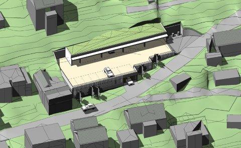 Dette er den foreløpige skissen av parkeringsanlegget i Jørnsebakken, som skal gi plass til 44 biler.