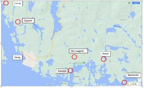 Det er gjort fleire tjuveri i Masfjorden og Gulen i sommar. På kartet er det ringa rundt dei fem stadene der det har blitt meldt om tjuveri.