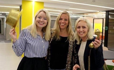 FREDAGENS VINNERTEAM: Nina Rundsveen, Anne Siri Nørstebø og Ingrid Roterud Mathisen gleder seg over rekordgevinsten.