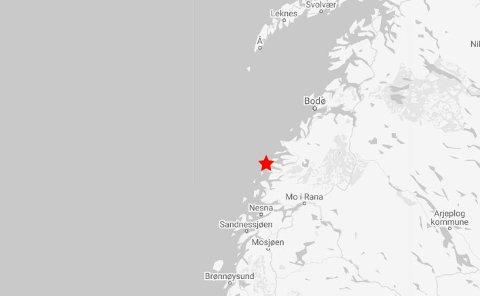 Et jordskjelv ble målt i Meløy på fredag.