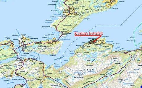 Kart over hyttefeltet Kvalnes.