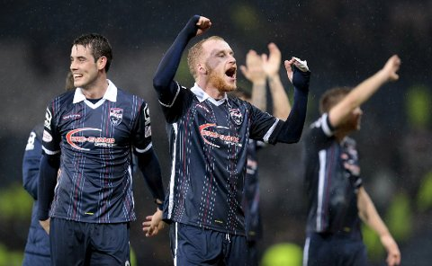 "Football Soccer - Ross County v Celtic - Scottish League Cup Semi Final - Hampden Park, Glasgow, Scotland - 31/1/16 Ross County's Brian Graham and Liam Boyce celebrate victory Action Images via Reuters / Graham Stuart Livepic EDITORIAL USE ONLY. No use with unauthorized audio, video, data, fixture lists, club/league logos or ""live"" services. Online in-match use limited to 45 images, no video emulation. No use in betting, games or single club/league/player publications.  Please contact your account representative for further details."