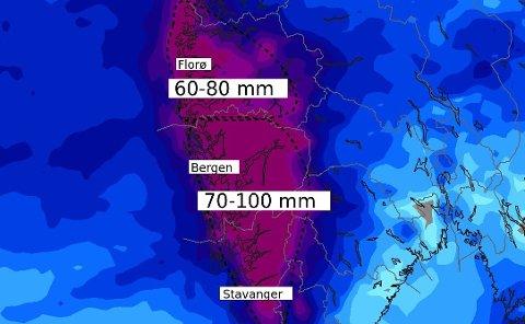 Meteorologene på Meteorologisk institutt tvitrer om et nytt uværsdøgn for Vestlandet. Bergen skal selvsagt få mest regn.