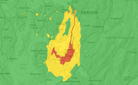 Det er varslet høy luftforurensning lørdag, opplyser Bergen kommune. Skjermdumpen viser prognosene for lørdag ettermiddag.