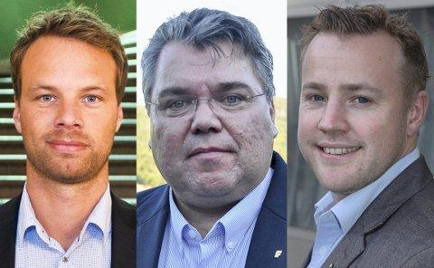 FRP UTFORDRER: Skribentene fra venstre: Jon Helgheim, Morten WOld og Lavrans Kierulf.