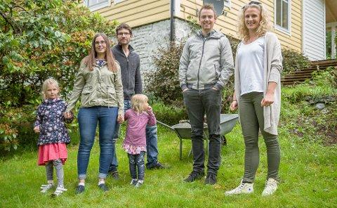 FLYTTA HEIM: F.v. Celine Myren Bjordal (6), Elin Myren, Atle Bjordal, Ariell Myren Bjordal (3), Jan Erik B. Søreide og Marte Søreide.