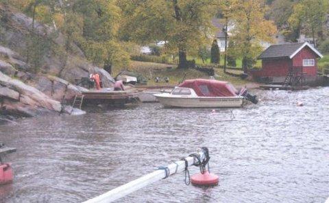 Hytteeieren ønsker å bygge en pælebrygge åtte meter ut i vannet fra brygga langs land