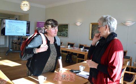 Virksomhetsleder i kommunens etat for tjenester til funksjonshemmede, Brita Brynildsrud (til venstre), og kollegene hennes har fått pris. Her er Brynildsrud fotografert ved et tidligere tilfelle da hun og kollegene fikk skryt – da av daværende fylkesmann Anne Enger. Foto: Randi Kristoffersen