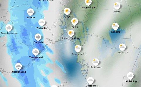 Gikk vestover: Fredrikstad slapp billig unna regn- og tordenværet som kom fra Sør-Sverige tirsdag morgen.