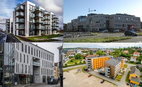Bellevue Brygge (øverst fra venstre), Helsehuset på Værste og Ryen-bygget ved Gressvikbrygga ble trukket frem i Fredriksstad Blad som eksempler på nyere, grå bygg i Fredrikstad – de nye studentboligene på Bjølstad (nederst til høyre) som et fargerikt eksempel på det stikk motsatte. Flere av politikerne planutvalget savner mer farger og variasjon i det som bygges.