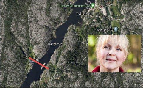 Hafslund har prosjektert med 22 meters seilingshøyde , og det mener vi blir for lite, sier ordfører Mona Vauger.  Den røde streken viser hvor  høyspentstrekket over Skjelsbusund skal gå.