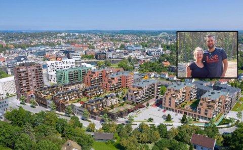 Thea Skyvuldstad (30) og Andreas Grustad Larsen (35) er atypiske. Vanligvis er kjøpere av nye leiligheter i bykjernen langt eldre.