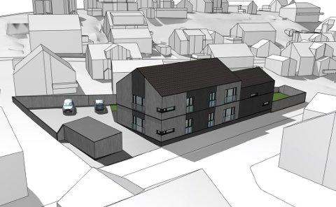 FASADE MOT VEIEN: Det nye leilighetsbygget blir lagt i fotavtrykket til den tidligere Trykkerigården.