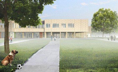 PLANLAGT: Slik tenker planleggerne seg en ny felles ungdomsskole på Tråstad.  ILLUSTRASJON: MORGENDAGENS SKOLE