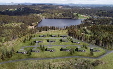 Bratholt Skog 1: Med utsikt over Viggeren, slik det kan bli når hyttene står ferdig bygd.