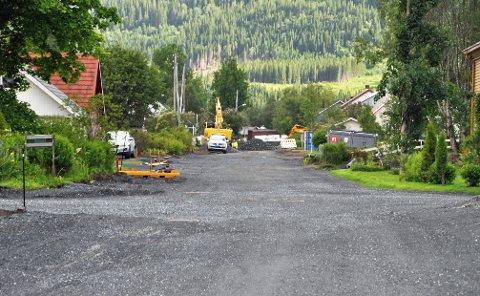 MYE ARBEID: Teknisk drift ved Vefsn kommune har jobbet i Skogsvegen i to og en halv måned.