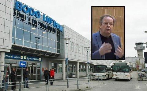 Bodø lufthavn. Innfelt: Bodø kommunes kommunikasjonssjef, Tord Berthinussen.